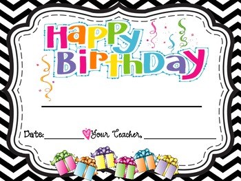 Chevron Birthday Pack-- Bulletin Board , Certificate, & Gift Pencil Tags