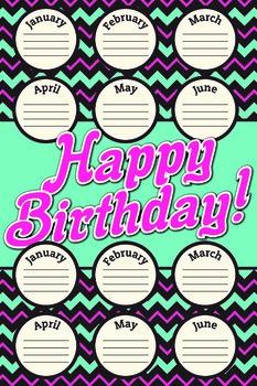 Chevron Birthdays Poster
