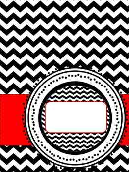 Chevron- Black, White and Red Binder Covers or Divider Inserts. Editable