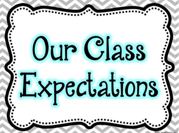 Chevron, Black, and Blue Class Expectation Posters