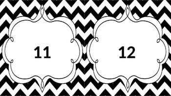 Chevron Black and White Numbers 1-20