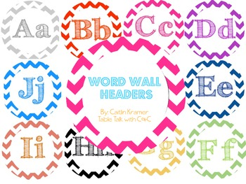 Chevron Blackboard & White Circle Word Wall Headers
