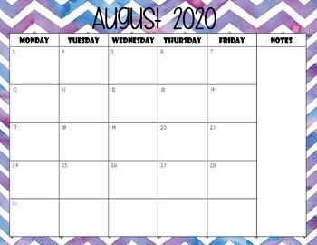 Watercolor Chevron Calendar Template 2017 - 2018 - Back to School Essential