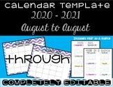 Watercolor Chevron Calendar Template 2018 - 2019 - Back to School Essential