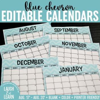 Editable Calendar // Blue Chevron {August 2017 - 2020}