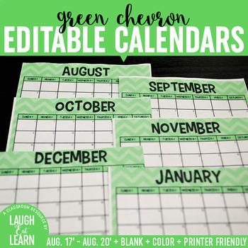 Editable Calendars {Green Chevron}