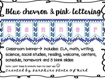 Chevron Blue & Pink Classroom Banners