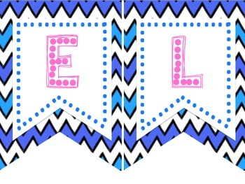 Chevron Blue & Pink Classroom Banners