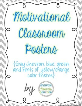 Chevron, Blue, and Green Motivational Poster Pack