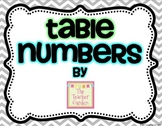 Chevron, Blue, and Green Table Numbers and Sorting Cards