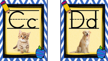 Chevron Blue and Yellow Medium Alphabet Posters with Real Pictures