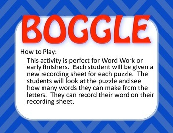 Chevron Boggle Board, Grades 2-6, 35 Different Puzzles, Everything you need!