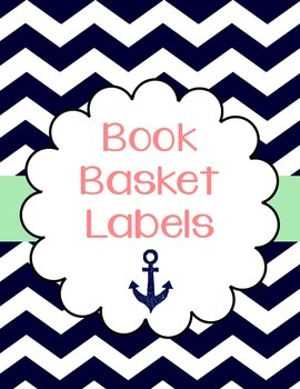 Chevron Book Basket Labels