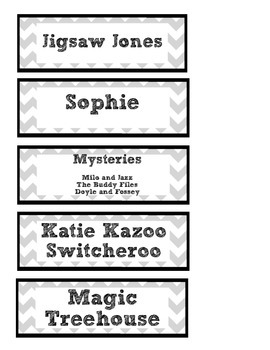Chevron Book Basket Labels - 3rd Grade Titles