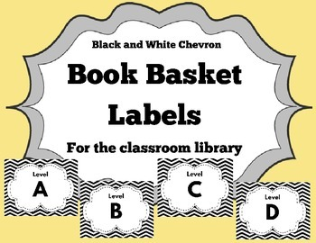 Chevron Book Basket Labels for the Classroom Library