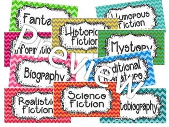 Chevron Book Bin Genre Labels