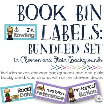 Book Bin Labels: Chevron {BUNDLED SET}