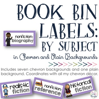 Book Bin Labels: Chevron {By Subject}