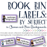 Book Bin Labels: Chevron {By Subject}