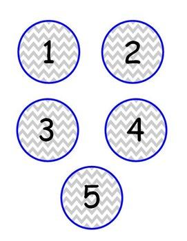 Chevron Book Bin Numbers 1-20