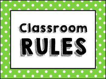 (Green/Pink/Blue Polka-Dot Border) Classroom Rules