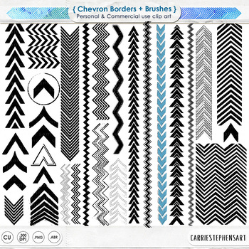 Chevron Border Clip Art, Arrow ClipArt Borders, PS Brush + PNG Graphics