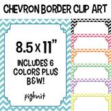 Chevron Border FrameClip Art -- 8.5x11 Download. Comes in 6 colors, plus B&W!