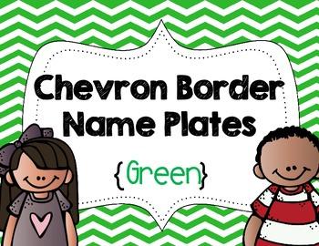 Chevron Border Name Plates {Green}