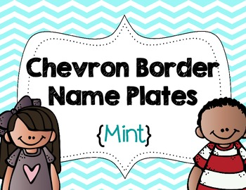 Chevron Border Name Plates {Mint}