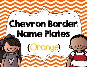 Chevron Border Name Plates {Orange}