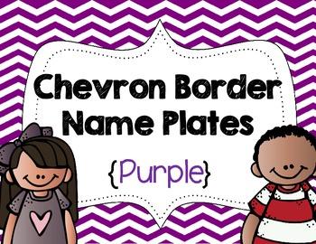 Chevron Border Name Plates {Purple}
