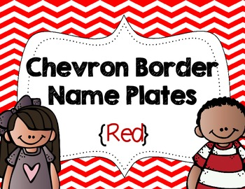 Chevron Border Name Plates {Red}