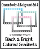 Chevron Borders & Backgrounds Set 4 - Black & Bright Color