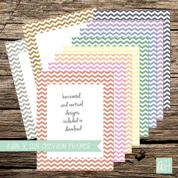 Chevron Borders with Pastel Colors (includes 4 glitter borders)