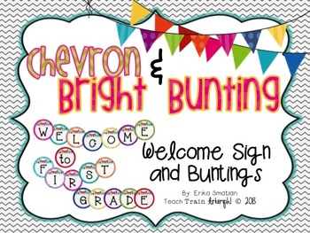 Chevron & Bright Bunting Welcome Sign and Buntings