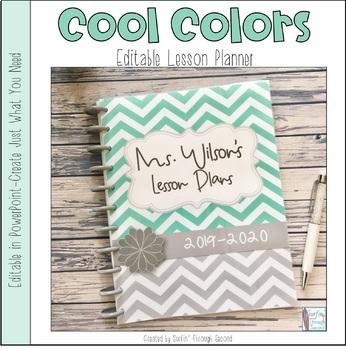 Cool Colors Editable Teacher Binder / Planner 2018-2019