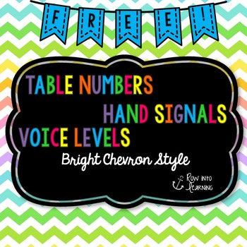 Chevron Brights - Table Numbers, Hand Signals, Voice Level Posters