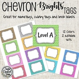 Chevron Brights Cubby Tags, Name Tags and Coat Hooks