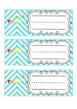 Chevron & Bunting Desk Name Tag