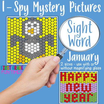 Winter Activities I Spy Sight Words Mystery Pictures for January