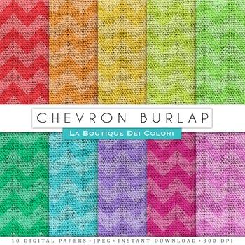 Chevron Burlap Digital Paper, scrapbook backgrounds.