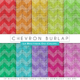 Chevron Burlap Digital Paper, scrapbook backgrounds.