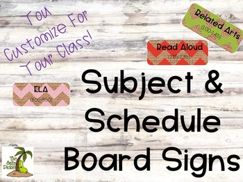 Chevron Burlap Print Schedule and Subject Signs for Your Board or Wall