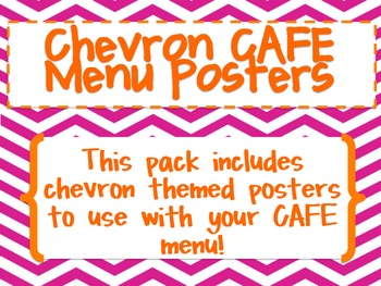 Chevron CAFE Menu Posters