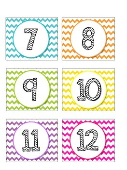 Chevron Calendar Coverup Number Cards