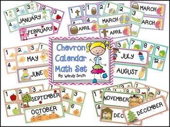 Chevron Calendar Math Set