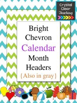Chevron Calendar Month Headers