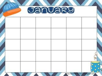 {FREEBIE] BRIGHT Chevron Calendar