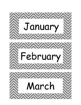 Chevron Calendar Months of the Year in Grey