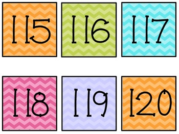 Chevron Calendar Numbers 1 to 120
